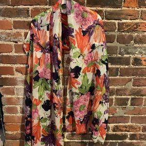J Crew bright floral scarf